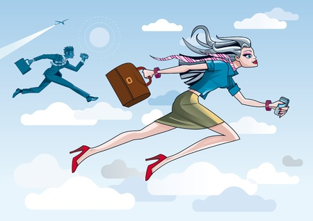 business woman phone: Businesswoman Running Through Clouds  Illustration