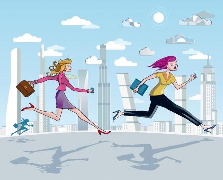결정된: 구름과 고층 빌딩 사이에 푸른 하늘을 일을 실행 비즈니스 여성