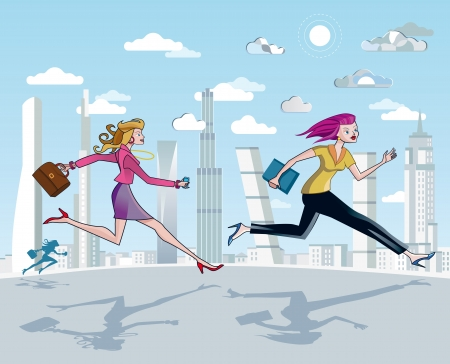 Business women running to work between skyscrapers  A blue sky with clouds