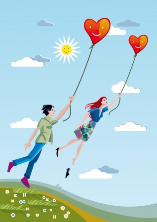 A man and a woman towering over the fields holding a heart tied with strings