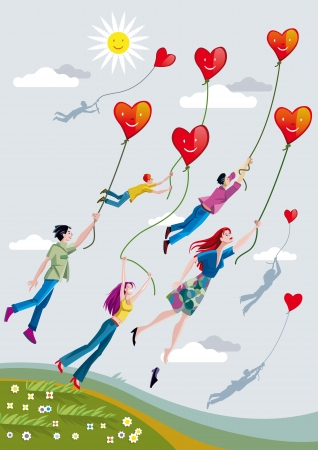 Boys and girls are raised over the fields clinging to ropes that hold smiling hearts. Illustration