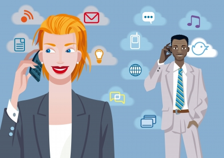 Caucasian businesswoman and black businessman talking on mobile phone  Besides their there are a set of communication icons  Vector