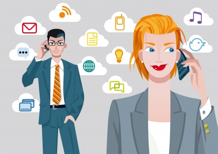 man on cell phone: Atractive blond caucasian businesswoman and businessman talking on mobile phone  Behind their, there are a set of communication icons  Illustration