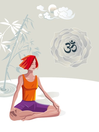 Woman Practicing Yoga Meditation. she is in a quiet place with the moon and clouds in Japanese style. In a lotus its the sacred syllable OM. Illustration