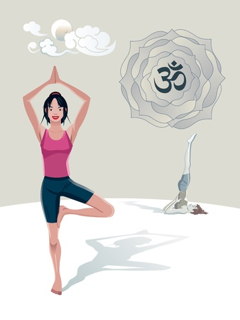 yoga asana tree pose: Woman Practicing Yoga outdoor. Tree asana (Vrkshasana). She is in a quiet place, with the moon and clouds in Japanese style. In a lotus its the sacred syllable OM Illustration