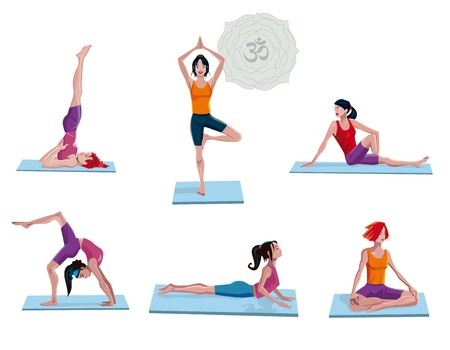 Atractive young  Women practicing yoga. Six diferents asanas. Vector