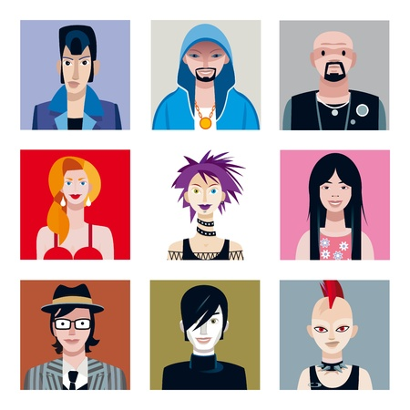 indie: Conjunto de nueve retratos de chicos j�venes y ni�as de diferentes tribus urbanas para utilizar como avatares o iconos para redes sociales