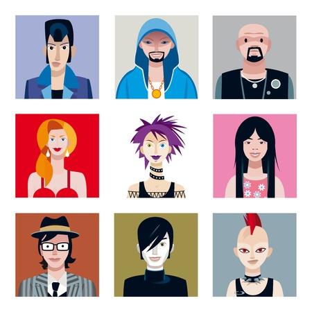 Set van negen portretten van jonge mensen jongens en meisjes uit verschillende stedelijke stammen als avatars of pictogrammen te gebruiken voor sociale netwerken