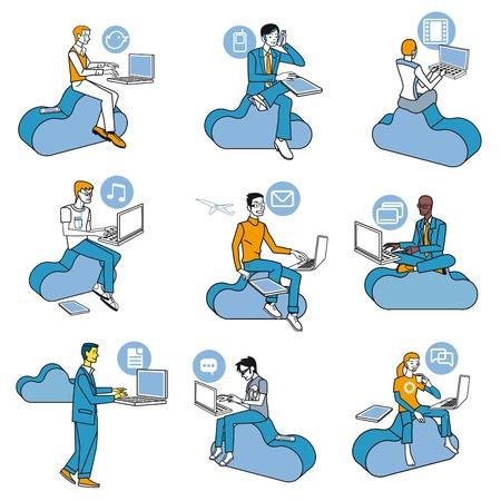 Negen mannen de toegang tot internet data in de cloud, terwijl ze zitten op de blauwe wolken. De houding van de professionele werk en vrije tijd in sociale netwerken. Schematische illustraties bijna iconen.