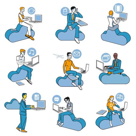 social networks: Nine men  access to Internet data in the cloud while they are sitting on blue clouds. Attitudes of professional work and leisure in social networks. Schematic illustrations nearly icons.