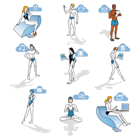 Nine  characters of men and women in swimsuits making use of smartphones, laptops and digital tablets. Each of them can be very easily taken independently or to relate it to other for composite diferents  and refreshing scenes. Schematic illustration with