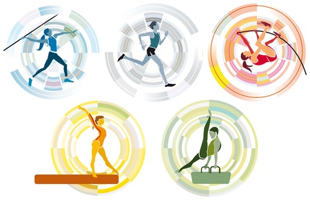 javelin: Five different sports on a circular background.