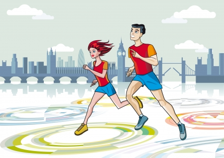 A man and a woman running a marathon race with the City of London in the background  Vector
