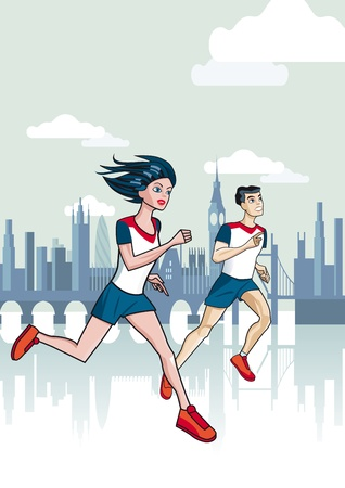 A man and a woman running a marathon with the City of London in the background