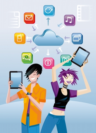 Two teenagers  boy and girl  very happy show a digital tablet each  one Over them, a cloud with icons of different applications