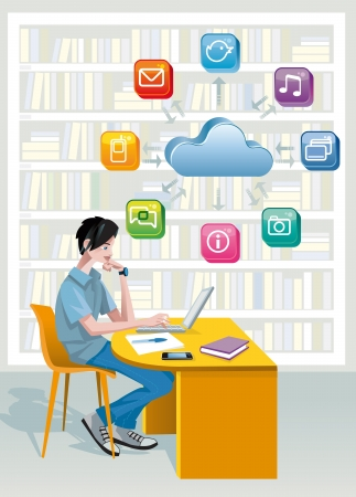 A teenage boy sitting in a public library at the laptop computer  Above is a cloud and a set of internet icons  He is studying helped by technology