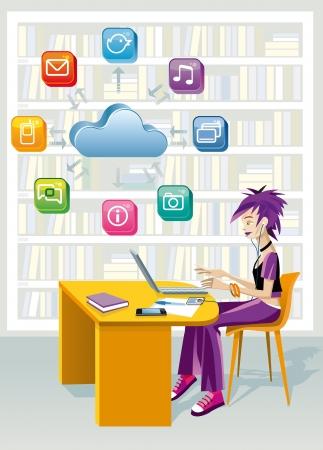 Una chica adolescente sentado en una biblioteca pública en el ordenador portátil encima de una nube y un conjunto de iconos de internet que está estudiando la ayuda de la tecnología