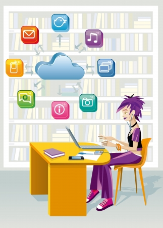 A teenage girl sitting in a public library at the laptop computer  Above is a cloud and a set of internet icons  She is studying helped by technology  Vectores
