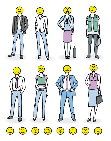 unrecognizable person: Set of eight characters Illustration