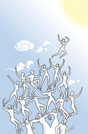 mujeres orando: ilustración que representa lo positivo del trabajo en equipo para alcanzar metas