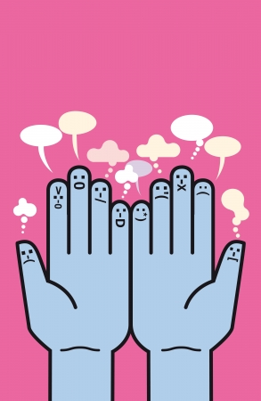 schematically: Two palms of hands facing the viewer. Each of the ten fingers expression has a patterned schematically by way of an emoticon.
