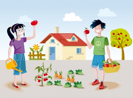 A boy and a girl working happily in a small back garden near his home picking some fruits and vegetables  Illustration
