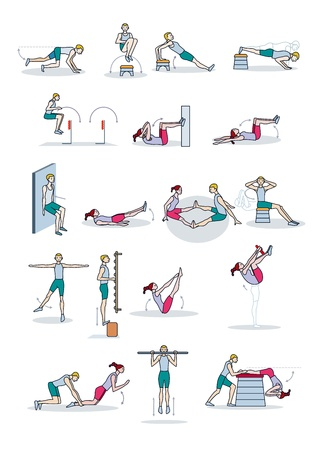 A man and a woman perform a physical exercise routine  They perform exercises  strength workouts individual  or as a couple  Vector