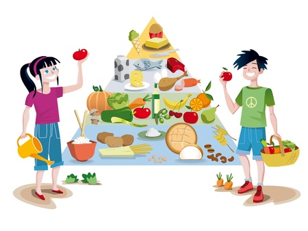 A food guide pyramid of healthy foods divided into sections to show the recommended intake for each food group  In front of the pyramid a boy and a girl smiling with some vegetables in their hands  Vector