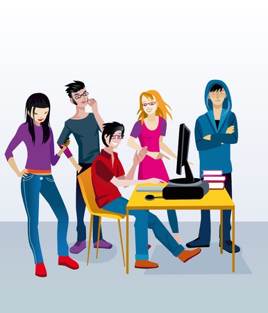 woman smartphone: A group of young adolescent students (boys and girls) around a table with a computer doing work class. Illustration
