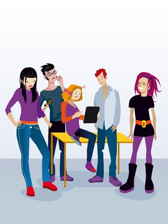 Een groep jonge adolescente leerlingen (jongens en meisjes) rond een tafel met een digitale tablet en een smartphone doet het werk klasse.