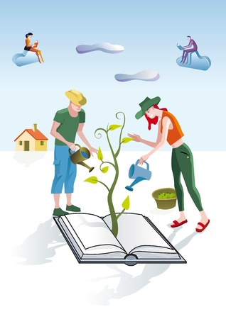 pamper: A man and a woman dressed as gardeners work creatively. They care and pamper a book from which emerges a green plant. Other people are reading and studying some books in the clouds.