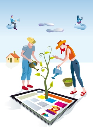 A man and a woman dressed as gardeners work creatively. They care and bring life a digital tablets. Other people download this content on their mobile devices.