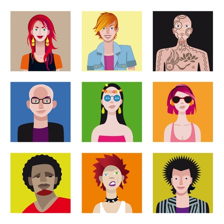 A set of nine characters. Nine faces or avatars of young people from a variety of urban tribes.