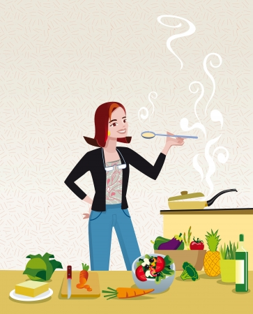 An attractive and elegant woman tasting a soup that she is cooking in their home Kitchen surrounded by healthy cooking ingredients  Vector