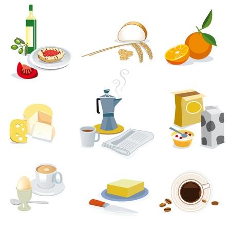 ingredients for a breakfast varied as the Mediterranean diet. Vector