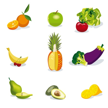 Healthy fruits and Vegetables Illustration