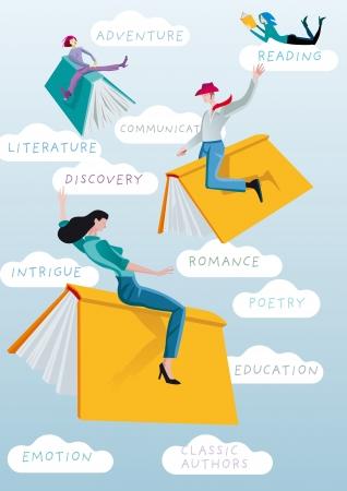 문학의: 남자와 여자는 와일드 웨스트 로데오에서 황소처럼 책을 타고. 독서와 학습의 흥미 진진한 모험의 유. 일러스트