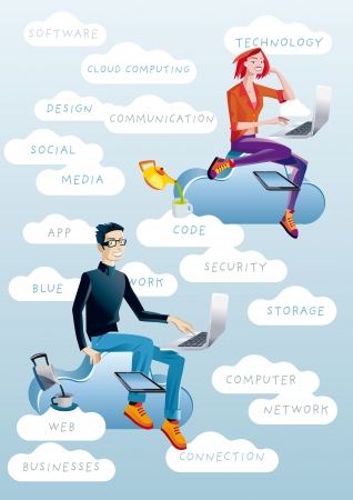 A man and a young woman working in the cloud with their laptops  Around them, cloud with words related to technology and cloud computing