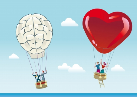 Two hot air balloons flying over a blue sky  One is shaped like a heart represents the emotion and love and the other in the shape of  brain representing the reason  Stock Vector - 18730787