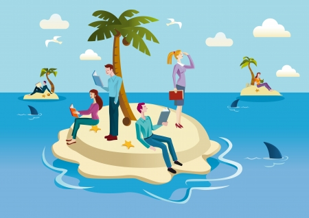 A small tropical island occupied by men and women who spend their time reading books. Illustration