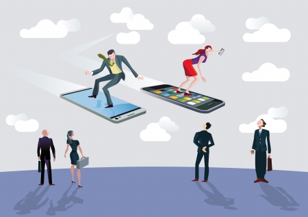 Men and women of business flying or surfing on mobile phones sailing between clouds in a blue sky.Below they, on thhe ground, other more traditional businessmen observed astonished.EPS10 without transparency.