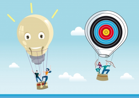 Two hot air balloons flying over a blue sky. One is shaped like a lightbulb represents the creativity and the other in the shape of  a diana representing objectives and projects.