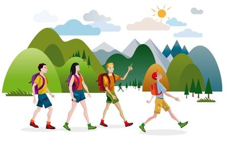 Een groep vrienden, jongens en meisjes, lopen vrolijk en blij door de bergen op een mooie lentedag. Stock Illustratie