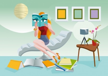 woman reading book: Elegant woman sitting on a chaise longue,reading with great attention a fashion magazine. At her foot others magazines and books. Illustration