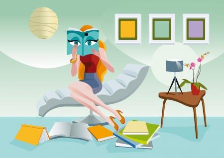 woman lying down: Mujer elegante que se sienta en un sill�n, leyendo con atenci�n una revista de moda. A sus pies los dem�s revistas y libros.