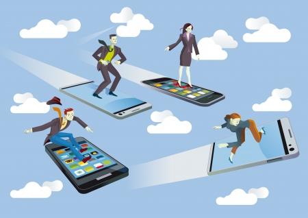 Vier zakenmannen en vliegen of surfen op mobiele telefoons varen tussen de wolken in een blauwe hemel genieten zij van technologie zonder transparantie