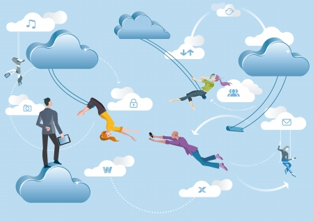 Business men and business women are working in the cloud like acrobats swinging between clouds and cooperating between them  Illustration