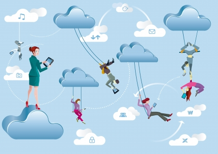 trapeze: Business men and business women are working in the cloud like acrobats swinging between clouds and cooperating between them  Illustration