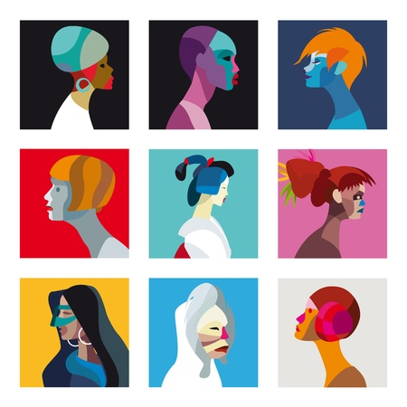 feminity: Nine faces of women and girls of different ethnicities.Great to use for avatars or profileuser images with a distinctive look. No transparencies.s