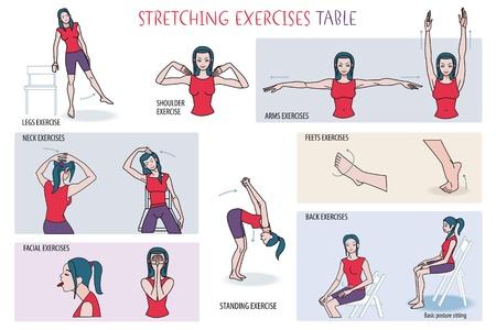伸張の練習ルーチンを行う若い女性